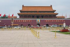 BEIJING, CHINA - 20 MAY 2018: Tianamen square and entrance to th. E Forbidden City. Square of Heavenly Peace with tourists Royalty Free Stock Photos