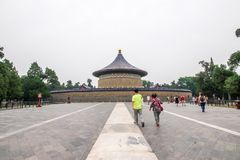 Beijing, China - May 26, 2018: View of people travel at Imperial Vault of Heaven or Huangqiongyu at The Temple of Heaven, Beijing royalty free stock image