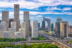 Beijing, China Financial District Cityscape Stock Photos