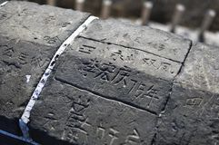 Beijing, China November 18, 2017: Chinese characters on stone royalty free stock photos