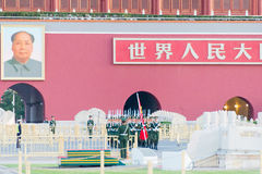 BEIJING, CHINA - Oct 13 2015: Flag Raising Ceremony of Tiananmen Royalty Free Stock Photo