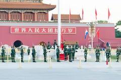 BEIJING, CHINA - Oct 13 2015: Flag Raising Ceremony of Tiananmen Stock Photo