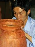 BEIJING, CHINA  SEPTEMBER 19, 2011: Cloisonne factory worker. stock images