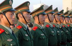 Beijing, China: Soldiers in Tian'anmen Square royalty free stock images