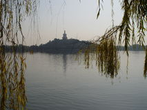 Beijing China - Willow view of Beihai park. In Beijing, China, Tiananmen Square / Beihai Park, Forbidden City Stock Photography
