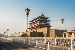 Beijing, China at the Zhengyangmen Gatehouse in Tiananmen Square Stock Image