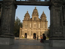 Beijing, a Christian church, avenue Tian An-Men Stock Photos