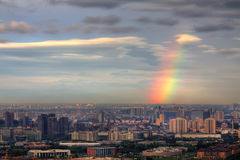 Beijing city and the rainbow Royalty Free Stock Photo