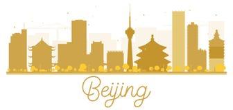 Beijing City skyline golden silhouette. Royalty Free Stock Photo