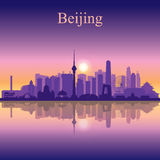 Beijing city skyline silhouette background Stock Photography