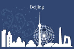 Beijing city skyline silhouette on blue background. Vector illustration Royalty Free Stock Photography