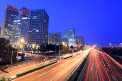 Beijing cityscape at dusk with traffic Stock Photos