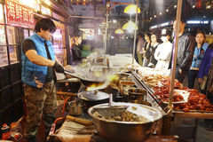 Beijing Dazhalan Market,  famous Wangfujing snack street Royalty Free Stock Photos