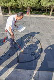 Beijing. Elderly Chinese calligrapher Stock Photography