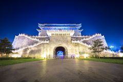 Beijing embrasured watchtower at night Royalty Free Stock Photography