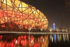beijing exponerade den olympic parken för natten Arkivbild