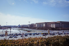 BEIJING - 6 FEB: people walking on Tiananmen square on 6 Februar Stock Photography