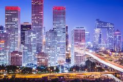 Beijing Financial District. Beijing, China skyline at the central business district Stock Photography