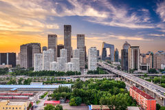 Beijing Financial District Skyline. Beijing, China financial district at dusk Royalty Free Stock Photo