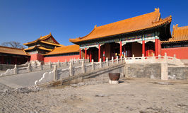 Beijing Forbidden City. Lying at the center of Beijing, the Forbidden City, called Gu Gong, in Chinese, was the imperial palace during the Ming and Qing stock photo