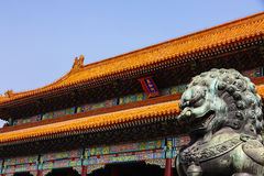 Beijing Forbidden City. Outside the main entrance to the Forbidden City palace towards. Beijing Forbidden Citys largest palace. Before the Ming Yongle, initially royalty free stock photography