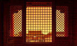 Beijing Forbidden City ancient architecture windows Royalty Free Stock Image