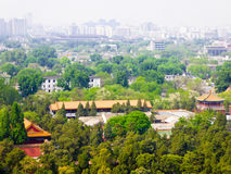 Beijing Forbidden City buildings. Overlooking Beijing Forbidden City buildings and modern buildings background from Jingshan Park in Beijing China Royalty Free Stock Images