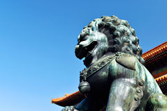 Beijing Forbidden City copper lion Royalty Free Stock Image