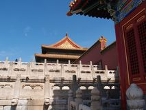 Beijing Forbidden City detail. Patio and architectural detail of a Chinese palace building in the historical imperial Forbidden City of Beijing, China royalty free stock images