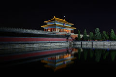 Beijing Forbidden City Gate of Divine Might Night Stock Photography