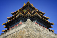 Beijing Forbidden City Gate Tower. Lying at the center of Beijing, the Forbidden City, called Gu Gong, in Chinese, was the imperial palace during the Ming and royalty free stock images