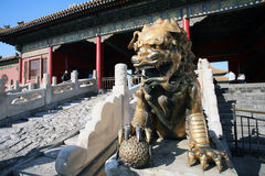 Beijing Forbidden City gilt bronze lion Stock Image