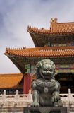 Beijing Forbidden City: lion against the corner of Stock Image