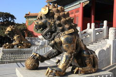 Beijing Forbidden city lions. Pair of guardian lion statues of the Forbidden City in Beijing royalty free stock images