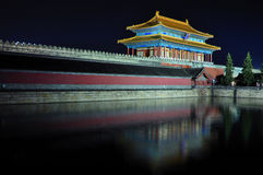 Beijing Forbidden City night scenes. Lying at the center of Beijing, the Forbidden City, called Gu Gong, in Chinese, was the imperial palace during the Ming and Stock Photos