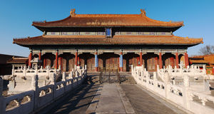 Beijing Forbidden City Palace. Lying at the center of Beijing, the Forbidden City, called Gu Gong, in Chinese, was the imperial palace during the Ming and Qing stock photography