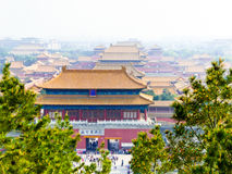 Beijing Forbidden City Palaces. Overlooking Beijing Forbidden City palaces from Jingshan Park in Beijing China Stock Photography