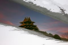 Beijing Forbidden City Reflection And Snows Stock Photos