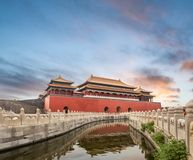Beijing forbidden city in sunset royalty free stock photography