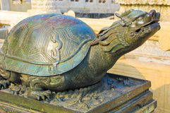 Beijing forbidden city turtle. Traditional China architecture. A bronze sculpture of the turtle dragon at the Forbidden City in Beijing. Ready for the 2008 Stock Images