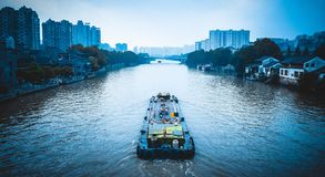 The Beijing-Hangzhou Grand Canal in China. The capital Hang zhou Grand Canal, the abbreviation canal, and to stand side by side serve as the engineering the stock image