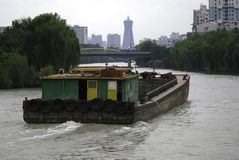 The Beijing-Hangzhou Grand Canal. Sand carrier in The Beijing-Hangzhou Grand Canal Royalty Free Stock Images