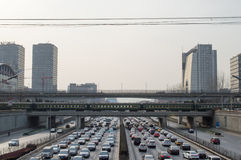 Beijing heavy traffic. In Beijing ,Traffic congestion is very serious.Vehicles traveling in extremely slow,This photo was taken on March 9, 2014 Royalty Free Stock Images