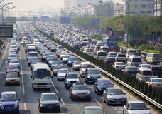 Beijing heavy traffic jam and air pollution Royalty Free Stock Photos