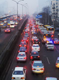 Beijing heavy traffic jam and air pollution Stock Image