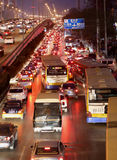 Beijing heavy traffic jam and air pollution Stock Photo