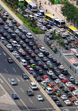 Beijing heavy traffic jam and cars. There are four million cars in Beijing now .Traffic congestion is very serious.Government requested each vehicle traveling Royalty Free Stock Photos