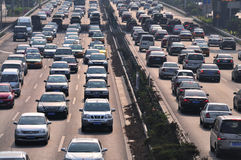 Beijing heavy traffic jam and cars Royalty Free Stock Photos