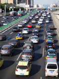 Beijing heavy traffic jam and cars Stock Photo
