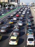 Beijing heavy traffic jam and cars Stock Photo